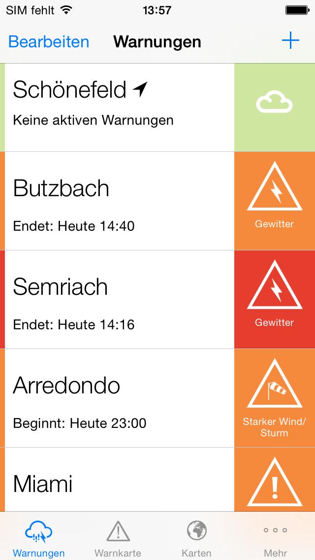Screenshot von AlertsPro - Unwetterzentrale.de iPhone- / iPad-App